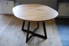 Extendable round table modern design steel and by Poppyworkspl