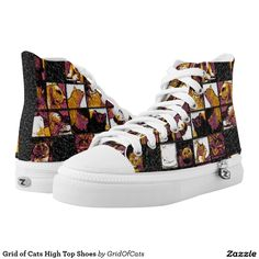 Grid of Cats High Top Shoes Printed Shoes