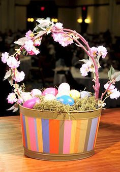 Awesome Easter Centerpiece! Find this adorable striped Zoe bucket at www.charissa.willowhouse.com