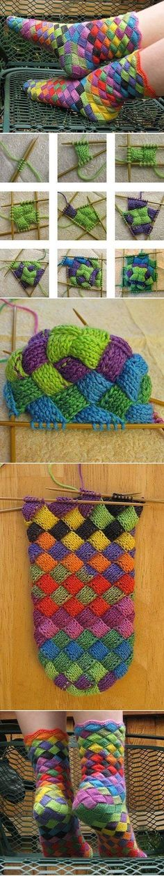 Lonely Socks Club: Entrelac Sock pattern by Natalia Vasilieva bunte Socken stricken: tolle Technik Crochet Socks, Knit Or Crochet, Knitting Socks, Knitting Stitches, Hand Knitting, Knit Socks, Booties Crochet, Baby Booties, Yarn Projects