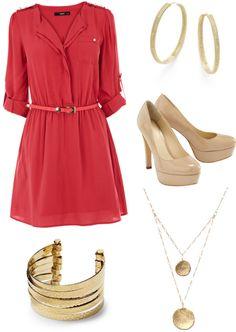 """""""Red shirt dress - Work"""" by brittjade ❤ liked on Polyvore"""