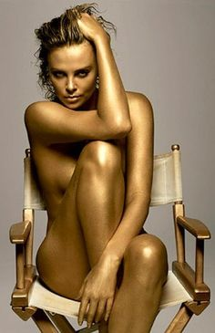 Charlize Theron || Portrait - Editorial - Gold - Photography - Pose Idea - Inspiration