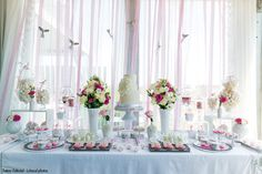 the dessert table for this angel' wings themed party