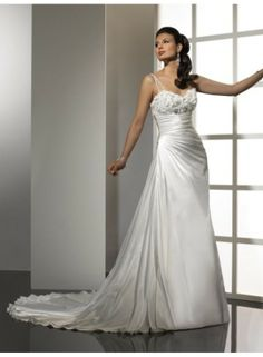 A-line One Shoulder Sweetheart Applique Brush Train Satin Wedding Dresses WE3836
