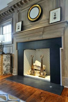 Fireplace Wall Design - Design photos, ideas and inspiration. Amazing gallery of interior design and decorating ideas of Fireplace Wall Design in bedrooms, living rooms, dens/libraries/offices, bathrooms by elite interior designers. Stone Fireplace Surround, Fireplace Mantle, Fireplace Design, Black Fireplace, Fireplace Molding, Library Fireplace, Fireplace Kitchen, Home Interior, Interior And Exterior