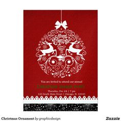 Sold. #Christmas #Ornament #Invitation #deer #elegant #modern Available in different products too. Check more at www.zazzle.com/celebrationideas