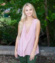 PRECIOUS PINK LACE UP TOP
