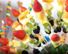 Fruit kabobs - must have for any rainbow-themed party!