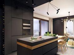Fekete konyha - konyha / étkező ötlet, modern stílusban
