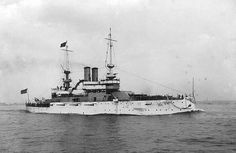 """USS Illinois Battleship BB-7 seen in the early 1900's (1901-1907).  In December 1907, when she joined the """"Great White Fleet"""" for the cruise around the world. Following a Presidential review, the mighty battleships sailed from Hampton Roads on their important voyage. The Atlantic Fleet joined the Pacific Fleet on 8 May 1908 in San Francisco Bay, and after a review by the Secretary of the Navy, the combined fleets continued their cruise."""