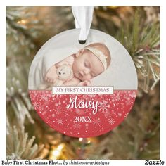 Baby First Christmas Photo Snowflakes Ornament Baby First Christmas Ornament, Baby Ornaments, Snowflake Ornaments, Babies First Christmas, Snowflakes, Christmas Cards, First Christmas Photos, How To Make Ribbon, Baby Design