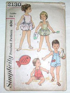 Simplicity 2130 Size 1 Boys Girls Sunsuit Playsuit Swimsuit Vtg Sewing Pattern   eBay