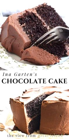 Ina Gartens Chocolate Cake recipe  its a classic! When I hear the word dessert this homey rich chocolatey cake is what springs to mind. Everybody should make it at least once. #cake #chocolate #recipe #inagarten #recipevideo #video #dessert #birthdaycake #layercake #chocolatecake #fromscratch #frosting #easy ... save time These can be made the day before if you will be pressed for time on the holiday Line a standardsize muffin cupcake pan with paper or foil l...lanning for one that will attract Smores Dessert, Bon Dessert, Dessert Dips, Quick Dessert, Dinner Dessert, Ina Garten Chocolate Cake, Chocolate Recipes, Cake Chocolate, Chocolate Cake Recipe Easy