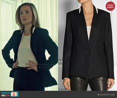 Delphine's black blazer with white trim on Orphan Black.  Outfit Details: http://wornontv.net/48122/ #OrphanBlack