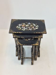 Dollhouse Miniature Artist Linda Wexler Inlaid Chinioserie Nesting Tables #Unbranded