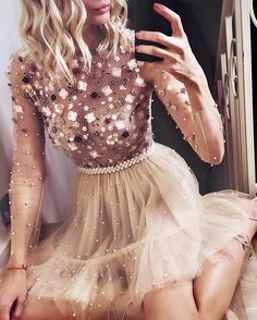 Find Short Prom Dresses For Sweet High School Prom, Graduation or Wedding Party? Come Here to Buy Charming Long Sleeves Beaded Appliques Tulle Short Prom Dresses that speaks to you and your unique personality. Elegant Dresses, Pretty Dresses, Sexy Dresses, Beautiful Dresses, Casual Dresses, Short Dresses, Fashion Dresses, Girls Dresses, Summer Dresses