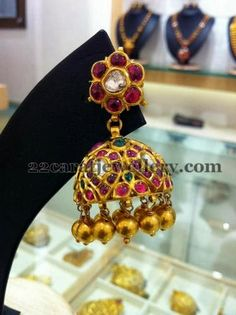 Jewellery Designs: Lakshmi and Gemstone Jhumkis Collection