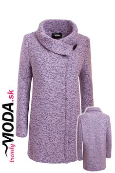 Dámsky zimný kabát z kvalitného vlneného materiálu, v striedmej siluete a módnej ružovej farbe.- trendymoda.sk Sweaters, Fashion, Moda, Fashion Styles, Sweater, Fashion Illustrations, Sweatshirts, Pullover Sweaters, Pullover