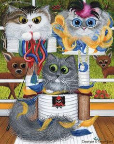 The Fiendish Felines - Cat Art by Tamsin Lord