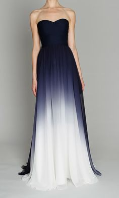 Midnight ombré chiffon gown / Monique Lhuillier