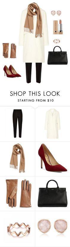 """useful white stuffs"" by yuri-writer on Polyvore featuring Jaeger, CO, Nordstrom, Sam Edelman, Furla, Yves Saint Laurent and Monica Vinader"