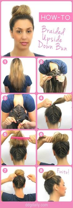 "Beauty How-To: Upside Down Braided Bun - If you know how to French braid your hair, than here is a neat way for you to get creative and turn that bun upside down. The simple eight step directions can guide you into an attractive style that will surely get people asking, ""How did you do that?"". by julianne"