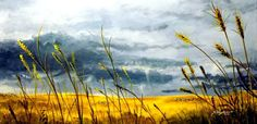 """Summer Storm,"" yellow landscape painting by artist Teddy Brown available at Saatchi Art 