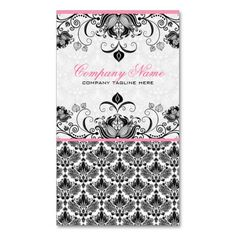 Black Pink and White Retro Floral Damasks Pattern Business Card Template. This is a fully customizable business card and available on several paper types for your needs. You can upload your own image or use the image as is. Just click this template to get started!