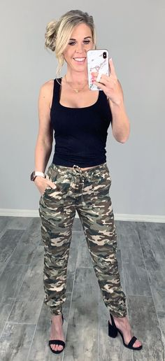 Comfy Easy Camo Cargo Style Pants ready to update your casual mom style easy summer ready #streetstyle #affordablefashion #casualstyle #ootdfashion #style #ootd #fallfashion #flannel #blogger #travel #vacationstyle #fashionlover #fashionblogger #summerstyle #boutiquefashion #womensfashionoutfit #falloutfit #dress #layeringdress #casualstyle #casualfashion #joggers #comfyoutfit #kimono #swimwear #homefashion #summervibes #womensfashion #onlineshopping #onlineboutique Ootd Fashion, Fashion Boutique, Camo Pants Outfit, Casual Mom Style, Badass Style, Camo Top, Camo Print, Black Tank Tops, Cargo Pants