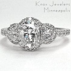engagement ring oval diamond with half moon side stones - Google Search