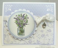 """Hallelujah it's Friday Friends! This has seemed like the longest week evah'! I went to an early movie with friends last night to see """"T. Mason Jar Cards, Mason Jars, Lavender Blue, Ink Stamps, Cardmaking, Decorative Plates, Blues, Scrap, Card Ideas"""