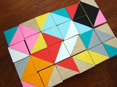 Hand painted wooden cubes...geometric and colorful