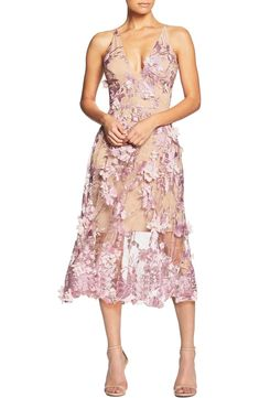 Free shipping and returns on Dress the Population Audrey Embroidered Fit & Flare Dress at Nordstrom.com. A lush garden scene is embroidered all over this figure-flattering dress topped with a slim, plunging bodice and finished with a breezy, flared skirt. Midi Dresses Online, Gala Dresses, Sexy Dresses, Dress Online, Wedding Dresses, Military Ball Gowns, Military Dresses, Fit Flare Dress, Flare Skirt