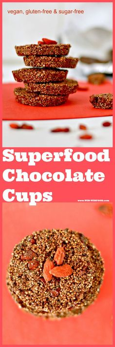 Superfood Chocolate Cups | WIN-WINFOOD.com Amazing #snack when youre craving something sweet and decadent but still good for you! #cleaneating #glutenfree #chia #goji #chocolate #dairyfree #vegan #healthy