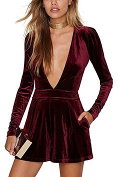 b9e8c8cbac Amazon.com  YOINS Women Sexy Playsuit Plunge Neck Long Sleeves Velvet  Jumpsuit Picture XXS  Clothing