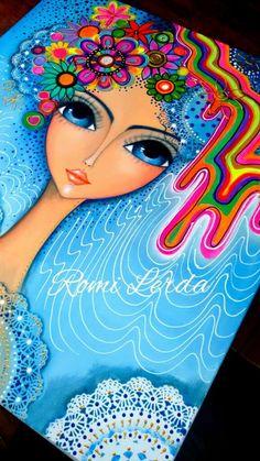 """Spirits of life"" 80 x Romi Lerda Art Pop, Mandala Art, Sketch Manga, Funky Art, Dot Painting, Fabric Painting, Whimsical Art, Art Plastique, Portrait Art"