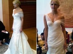 bridalguidemag:    Hot from the NYC runway!  Very Grecian Goddess! Lela Rose's pleated tulle off-the-shoulder gown with silk radzmir skirt.