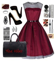 """""""Red Velvet"""" by lrochelle4life on Polyvore featuring Christian Louboutin, Louis Vuitton, CellPowerCases, Topshop, House of Harlow 1960, Bobbi Brown Cosmetics and Christian Dior"""