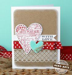 Hero Arts Cardmaking Idea: With Love. Hero Arts Four hearts cling set #CG426. Kraft paper, ribbon, twine paper ribbon.