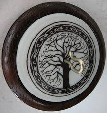 "Golding - ""CELTIC TREE OF LIFE""    2"" Walnut Whorl  Kiln-Fired Porcelain Inset  Bronze Alloy Ring  0.78 oz"