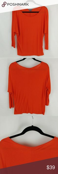 "VINCE 3/4 sleeve scoop neck orange blouse VINCE 3/4 sleeve scoop neck orange blouse Batwing style 25.5"" length 17.5 waist In good condition Vince Tops"