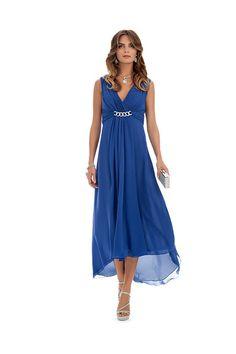 fca11b86c6a4 Colore. c5fbfa91777ec5 Vestito elegante da cerimonia blu elettrico con  scollo a V e pietre ... a14812bcf0b5c4 Abito in georgette ...