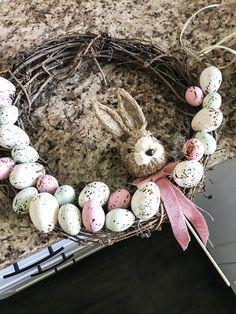 Farmhouse style easter egg wreath