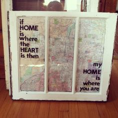 Relient K lyrics on a window with a map behind