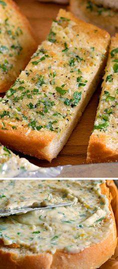 The Best Cheesy Garlic Bread Recipes are the most perfect and delicious addition to any dinner. These recipes make the most amazing savory compliment! I Love Food, Good Food, Yummy Food, Tasty, Cheesy Garlic Bread, Garlic Bread Recipes, Simple Garlic Bread Recipe, Garlic Bread Butter, Healthy Garlic Bread