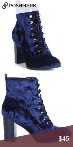 Report | Allex Velvet Bootie Beautiful blue velvet heeled bootie. Zip up inside.  Brand new. Report Shoes Heeled Boots