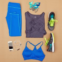 Cute workout gear: Cobalt Leggings, Top With Thumbholes, Hairbands, Nike Running Shoes, Sports Bra, Headphones
