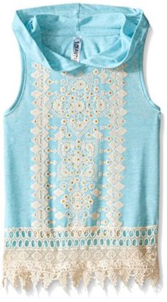 Beautees Big Girls Sleeveless Love More Screen Hoodie with Necklace and Lace Back Aqua Blue Medium ** Want to know more, click on the image.Note:It is affiliate link to Amazon.