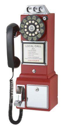 Amazon.com : Crosley CR56-BK 1950's Payphone with Push Button Technology (Black) : Corded Telephones : Electronics