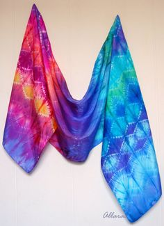 Fire and Ice. Hand Dyed Silk Scarf (Shibori). Bright Pink Violet Blue Scarf. Habotai.35 x 170 cm. Ready to ship.